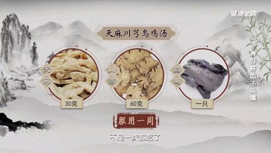 健康之路20200225,吴圣贤,养好肝血不头痛,天麻川芎乌鸡汤
