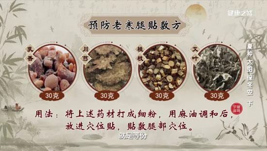 健康之路20200714,王麟鹏,预防老寒腿贴敷方,足浴方,暖胃子姜